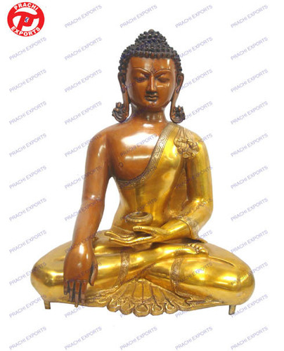 Buddha W/Out Base Orange & Golden Finish