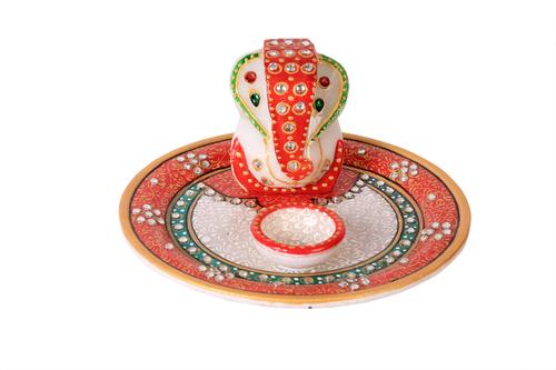 Antique Marble Ganesh Pooja Thali