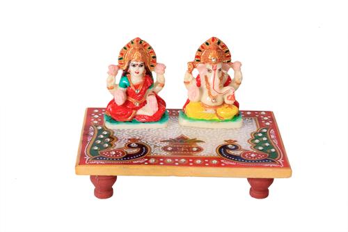 Antique Marble Choki Laxmi Ganesh 6*4