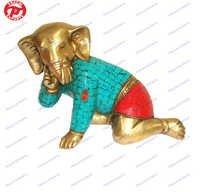 Baby Ganesh W/Out Base W/ Stone Work