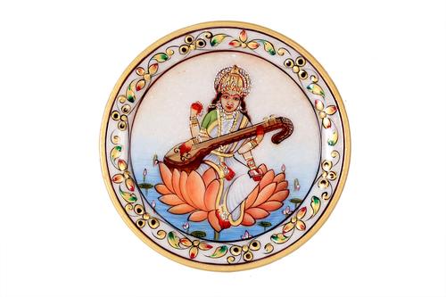 Antique Marble Panting Saraswati Plate