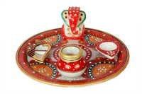 Antique Marble Ganesh Pooja Thali 9
