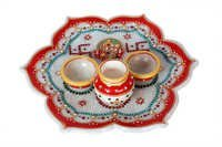 Antique Marble Flower Pooja Thali