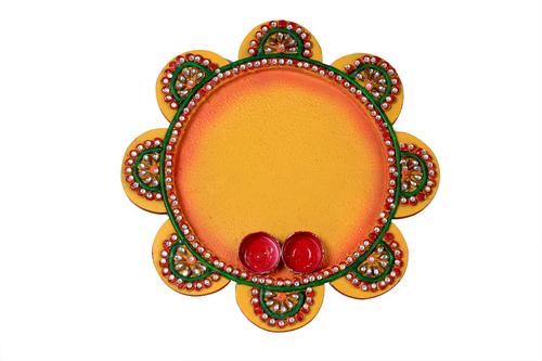 Marvellous Papper Masi Round Pooja Thali