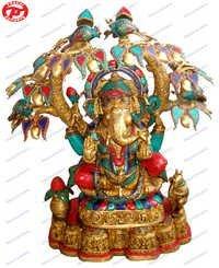 Ganesh Sitting Under Tree W/ Stones