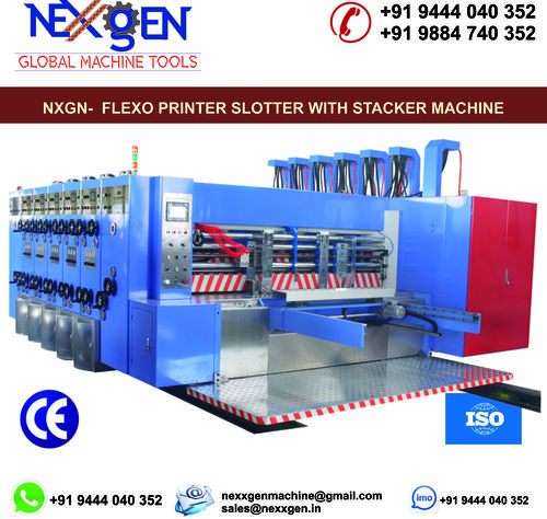 FOUR COLOUR FLEXO PRINTER SLOTTER WITH STACKER MACHINE