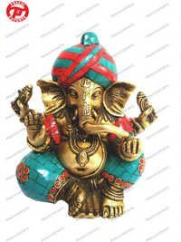 Pagri Ganesh W/Out Base W/ Stones