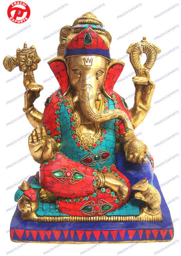 Ganesh Sitting 4 Arms On Sq. Base