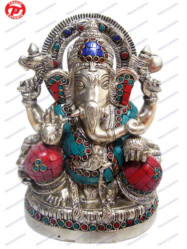 Ganesh 4 Hands Carved W/ Stone Work
