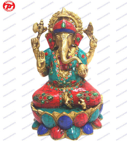 Ganesh Sitting On Lotus Base W/ Stone & Wire Beed