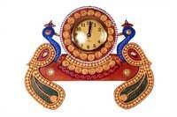 Antique Double Peacock Clock Papper Masi