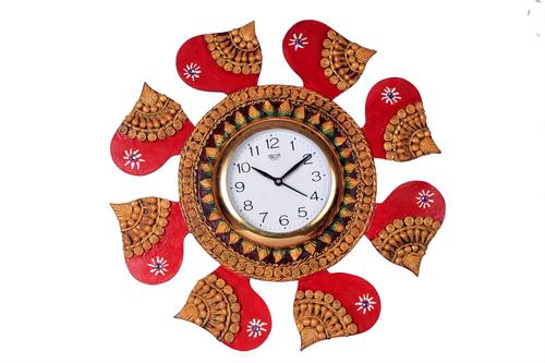 Antique Red Round Clock Paper Masi