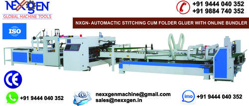 AUTOMATIC STITCHING CUM FOLDER GLUER WITH ONLINE BUNDLER