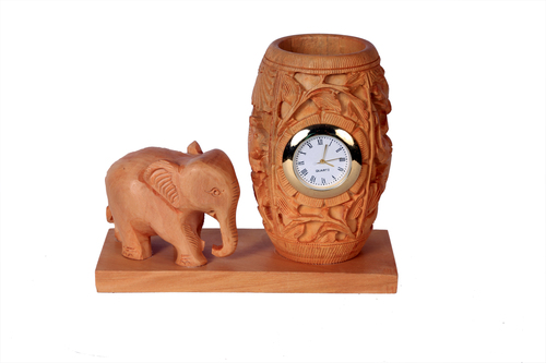 Antique Watch Elephant Pen Stand Wood
