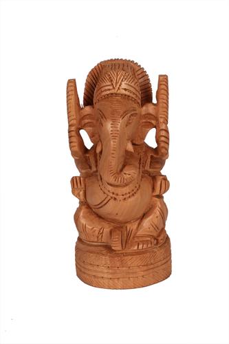 Antique Goal Ganesh Open Wood 5