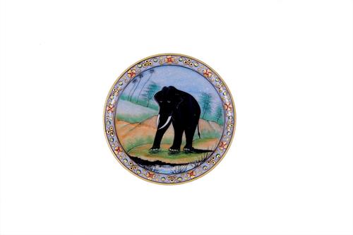 ANTIQUE BLACK ELEPHANT MARBLE  PLATE 9