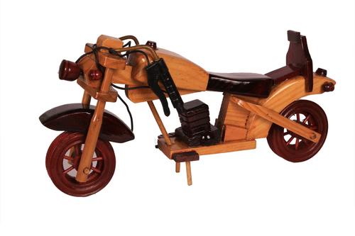 Antique Naturl Wooden Art Motorcycle 10