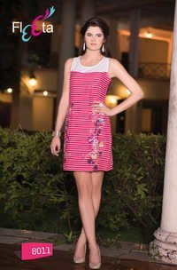 western pink and white kurti