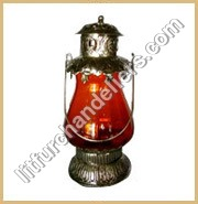 White Metal Glass Lantern