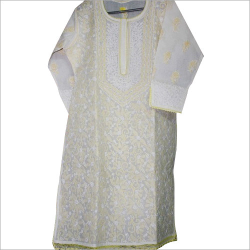 White Dress with Lemon Yellow Embroidery