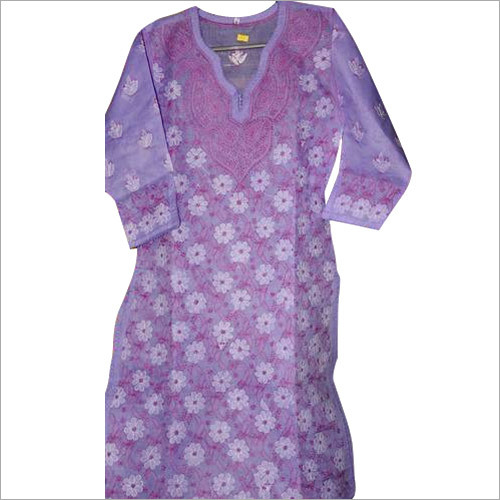 Purple Chikan Dress