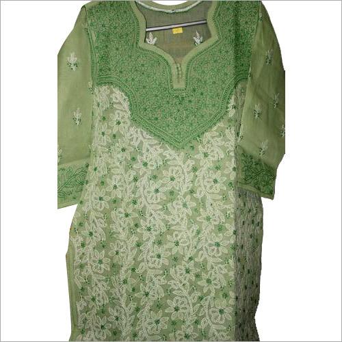 Light Green Chikan Dress