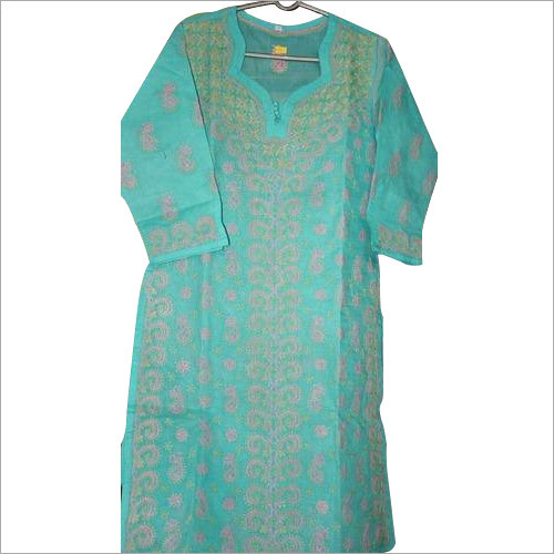 Full Embroidery Chikan Dress