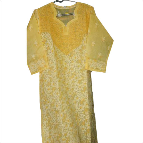 Yellow Dress with White Emroidery