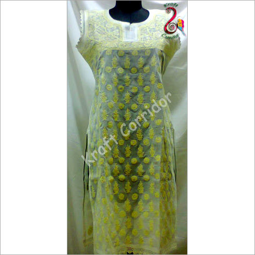 Lemon Yellow Chikan Kurti