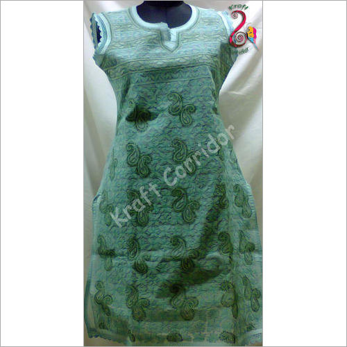 Green Embroidery Chikan Sleeve Less Kurti