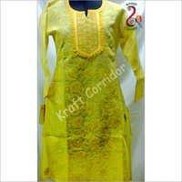 Yellow Chikan Kurti