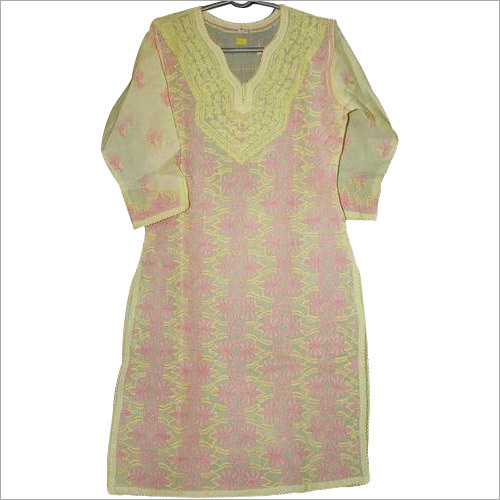 Light Yellow Dress with Pink Embroidery