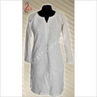 White Chikan Kurti Full Embroidery