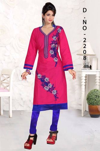 Pink Embroidered Cotton Kurti
