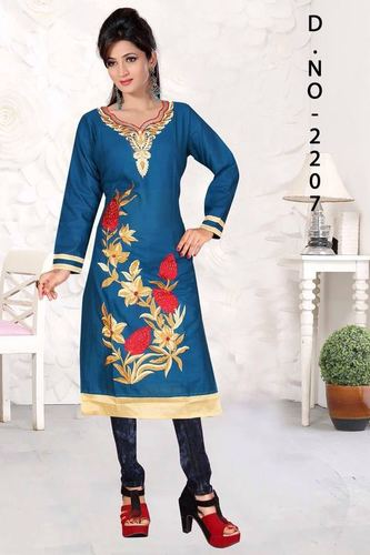 Blue Embroidered Cotton Kurti