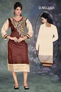 brown Embroidered Cotton Kurti