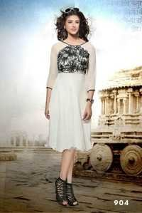 White and black  Embroidered Cotton Kurti