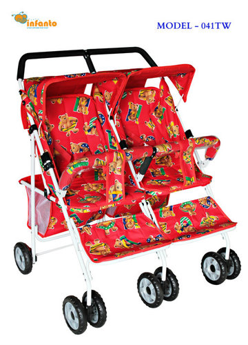 Littile Teddy Print Twins Pram