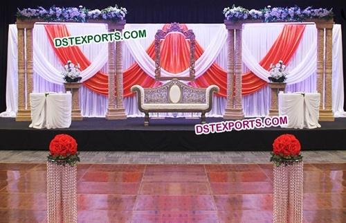Wooden Hand carved Pillar Wedding Stage