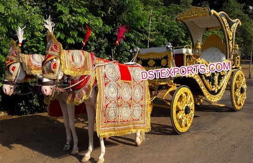 Royal Indian Black Gold Horse Drawn Buggy Carriage