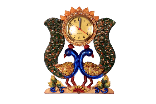 Antique Double Peacock Wall Watch Paper Masi