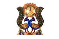 Antique Double Peacock Wall Clock Paper Masi