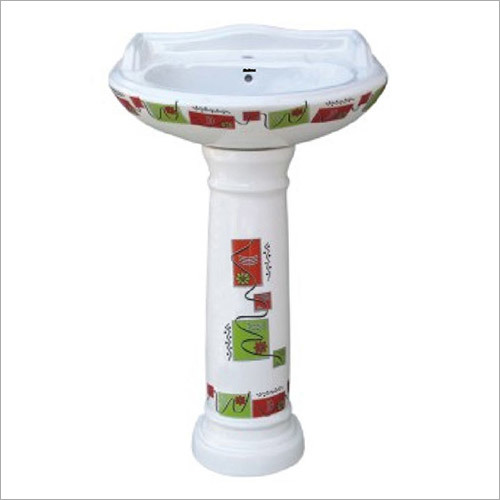 White Printed Pedestal Wash Basin