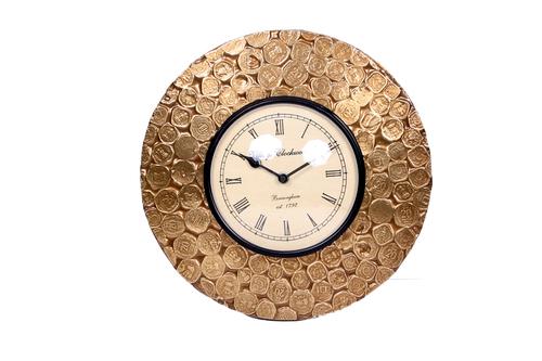 ANTIQUE GOLDEN COINS BRASS WALL WATCH 12*12