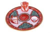 Antique Marble Ganesh Pooja Thali 6