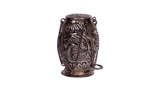 ANTIQUE BLACK METAL OPEN DHOLAK