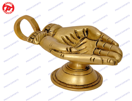 Oil Lamp Hand Shape W/ Base