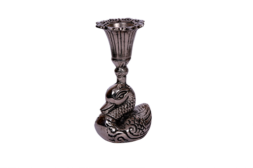 ANTIQUE BLACK METAL DUCK CANDEL STAND