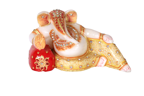 UNIQUE MARBLE SLEEPING GANESH JI