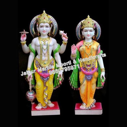 Marble Crafted Vishnu Laxmi Statue